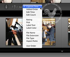 How to access Lightroom's image sorting features.