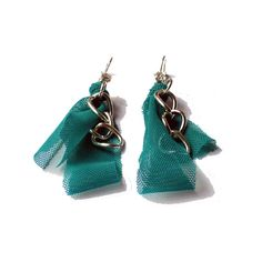 Fabric earrings  Emerald green fabric dangle  with by lillicose, $16.00