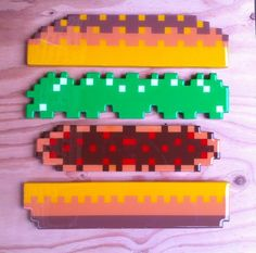 Wooden Pixel BurgerTime Wall Art
