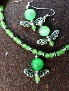 Green Cat's Eye With Tibetan Silver Wings and by BeriMadeJewelry, $17.00