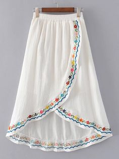 SheIn offers Elastic Waist Overlap Front Skirt & more to fit your fashionable needs. Embroidery Suits, Embroidery Fashion, Mexican Embroidery, Flower Embroidery, Boho Fashion, Fashion Dresses, Womens Fashion, Frock Design, Dresses Kids Girl