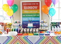 Amazing rainbow theme birthday party! Check this one out, @Allison j.d.m j.d.m Stone