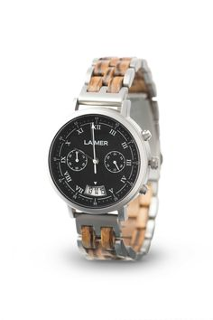 Our LEON is a masculine and cool chronograph that completes your uncomplicated look. The material mix of this watch makes it to a must have for every stylish man, who is as well environmentally conscious. Watch Display, Wooden Watch, Chronograph, Stylish Men, Casio Watch, Stainless Steel Case, Omega Watch, Bracelet Watch, Watches For Men