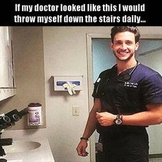 This was my OB/GYN....except blonde.  I accidentally pulled his scrub pants down....it was a horrible day for me ;)