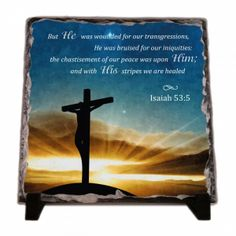 Christian decor: But he was wounded for our transgressions... Isaiah 53:5. KJV But he was wounded for our transgressions, he was bruised for our iniquities: the chastisement of our peace was upon him; and with his stripes we are healed WEB But he was pierced for our transgressions. He was crushed for our iniquities. The punishment that brought our peace was on him; and by his wounds we are healed Isaiah 53:5 A modern alternative to the classic decorative tiles and plates, these heavy-weight…
