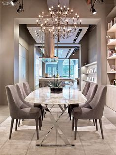 neutral, modern table with marble top