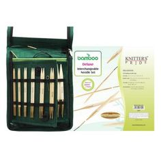 KnitPro Bamboo Interchangeable Circular Needles Set - Deluxe is a complete set of 10 pairs of the most commonly used circular needles sizes mm. The needles are made in the finest Japanese bamboo, which is a pleasure to knit. Wooden Knitting Needles, Knitting Needle Sets, Cable Needle, Sore Hands, Japanese Bamboo, Circular Needles, Needles Sizes, Green Fabric, Karate