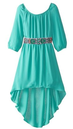 My Michelle Girls' High/Low Peasant Dress with Long Sleeves and Belt, Aqua, 8 Girl Outfits, Casual Outfits, Body Figure, Types Of Women, Body Shapes, Female Bodies, Fashion Dresses, Cold Shoulder Dress, Long Sleeve