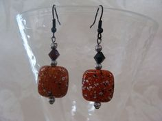 Brown Square Earrings with a Black Swarovski Crystal by Nanajanece, $25.00