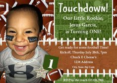 Touchdown Footbal Birthday Invitation by by gloriasDigiCards, $13.00