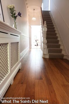 Radiator cover for hallway Victorian Hallway, Victorian Terrace, Hallway Decorating, Interior Decorating, Interior Design, Interior Paint, Interior Architecture, Style At Home, Hall Flooring