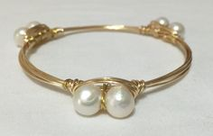Bangle Bracelet- Size Medium, Gold Tone Wire Wrapped Bangle Bracelet with Pearls Bourbon and Boweties Inspired CEA Creations by CEACreations on Etsy