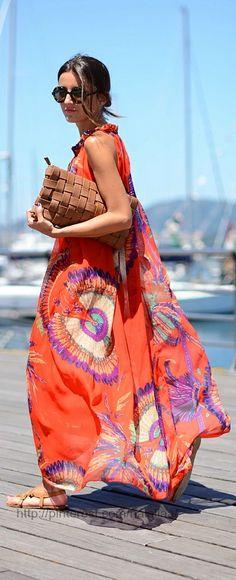 long flowy orange dress - LOVE