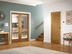 The Suffolk Pair offers a timeless internal rebated unfinished oak door with clear etched glass.