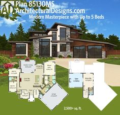 Architectural Designs Modern House Plan 85130MS gives you an open concept layout, master on main and up to 5 beds total. Ready when you are. Where do YOU want to build?