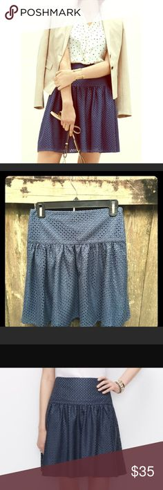 Ann Taylor Swing Skirt Adorable and flirtatious textured swing skirt. A-line skirt. Very flattering waistline. The color is a light blue-slate, and the texture is amazing (see close-up photo). Excellent condition--only worn once. Ann Taylor Skirts