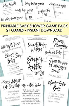 Printable Baby Shower Game Pack - 21 unique games for a baby shower! Baby shower games for girls, boys and gender neutral games! Baby Shower Games Unique, Cute Baby Shower Ideas, Baby Shower Prizes, Simple Baby Shower, Baby Shower Bingo, Baby Shower Activities, Baby Shower Fall, Baby Shower Themes, Baby Shower Games Printable
