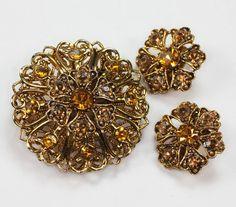 Topaz Rhinestone Brooch and Earrings Set Demi by PastSplendors