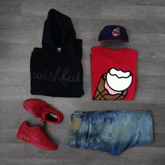 Outfit Grid Hoodie:Wishful Thinkin Shoes: AirMax 1 Pants: H&M T-Shirt: Ice Cream Hat: New Era