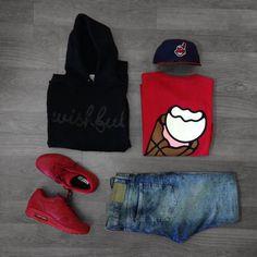 Hoodie:Wishful Thinkin Shoes: AirMax 1 Pants: H&M T-Shirt: Ice Cream Hat: New Era