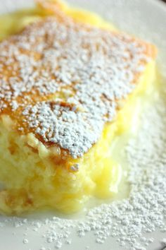 Add a new dessert option for your holiday dinners this year. Try this lite and moist Lemon Pudding Cake. Its a moist cake at the top and a pudding layer on the bottom. Lemon Desserts, Lemon Recipes, Just Desserts, Delicious Desserts, Cake Recipes, Dessert Recipes, Yummy Food, Lemon Pudding Recipes, Pudding Desserts