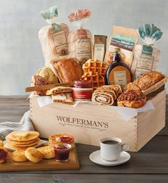 Tag a friend that you think would love our fabric in comments, like our page AND share this post in your stories (tag us!) for a chance to win this amazing baked good breakfast crate! We will pick a winner Wednesday December via Food Baskets For Christmas, Coffee Shop Photography, Breakfast Basket, Gourmet Bakery, Best Gift Baskets, Gift Crates, Happy Hour, Fruit Preserves, Food Platters