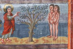 Moutier-Grandval Bible from about CE - God admonishes Adam and Eve Carolingian, Art Icon, Adam And Eve, Illuminated Manuscript, Religious Art, Icons, Christian, Illustration, Painting
