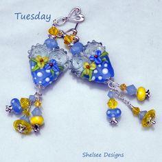 Blue Lampwork Earrings,Heart Earrings,Dangle Earrings,Glass Earrings,Beaded,Floral Earrings,Beadwork Earrings,Valentine - TUESDAY by ShelseeDesigns on Etsy https://www.etsy.com/listing/187561964/blue-lampwork-earringsheart