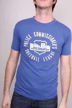 061a429f8 Copious: Vintage Slim Tee Shirt 80s Mens Blue New York City Police  Foundation T-Shirt $25