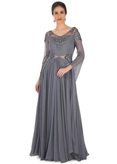 Laadesar Grey Georgette Gown Styled With French Knot Embroidery And Sequins Call or Whatsapp on or visit insta page WOMN CLOTHING. we are designer studio specialized in custom designer dresses. No CASH ON DELIVERY, worldwide delivery. Indian Gowns, Indian Wear, French Knot Embroidery, Bridesmaid Dresses, Wedding Dresses, Anarkali Suits, Designer Dresses, Bodice, Sequins