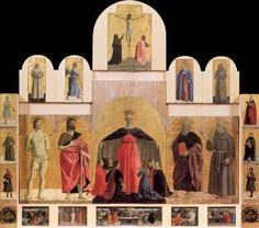 Polyptych of the Misericordia - Piero della Francesca.  1445-62.  Oil and tempera on panel.  Base: 330 cm.  Height:  273 cm.  Pinacoteca Communale, Sansepolcro, Italy.