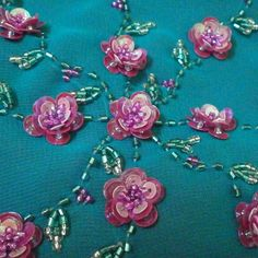 Pearl Embroidery, Embroidery On Kurtis, Kurti Embroidery Design, Tambour Embroidery, Hand Embroidery Flowers, Couture Embroidery, Flower Embroidery Designs, Hand Embroidery Stitches, Bead Embroidery Tutorial