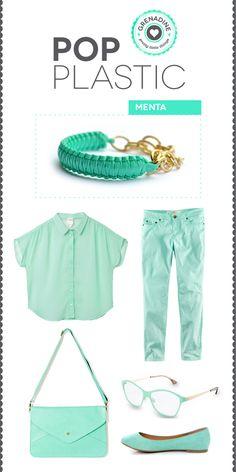 """Uno de los colores de esa primavera, el color menta! Combínalo con una pulsera de nuestra colección """"pop plastic"""" en color menta.  #fashion #trend #spring #summer #trend #color #mint #blue #green #bracelet #accessories"""