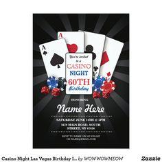 Casino Night Las Vegas Birthday Invitation Party Casino Night Party, Casino Theme Parties, Party Themes, Party Ideas, Party Props, Gift Ideas, Las Vegas, Vegas Bachelorette, Vegas Casino