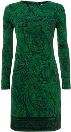 Michael By Michael Kors Green Long Sleeve Printed Shift Dress