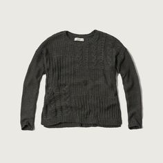 Abercrombie & Fitch Patchwork Cable Sweater (£23) ❤ liked on Polyvore featuring tops, sweaters, dark grey, chunky cable knit sweater, stitch sweater, abercrombie fitch sweaters, abercrombie fitch top and cable-knit sweater