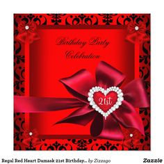 Regal Red Heart Damask 21st Birthday Party Card Regal Red Diamond Heart Bow Damask 21st Birthday Party Customize with your own details and age. Template for Sweet 16, 16th, Quinceanera 15th, 18th, 20th, 21st, 30th, 40th, 50th, 60th, 70th, 80th, 90, 100th, Fabulous product for Women, Girls, Zizzago created this design PLEASE NOTE all flat images! They Do NOT have real Glitter, Diamonds Jewels or real Bows!!