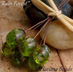 RAIN FOREST  - Handmade Lampwork Glass Headpins by havanabeads.etsy.com