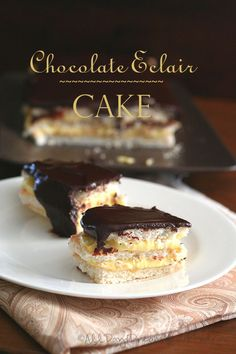 Chocolate Eclair Cake - Low Carb and Gluten-Free   A decadent low carb, gluten-free cake with layers of meringue, pastry cream and sugar-free chocolate ganache. Chocolate eclairs in cake.