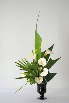 Art Floral Ikebana with antherium Tropical Flowers, Tropical Flower Arrangements, Creative Flower Arrangements, Church Flower Arrangements, Church Flowers, Beautiful Flower Arrangements, Beautiful Flowers, Wedding Arrangements, White Floral Arrangements