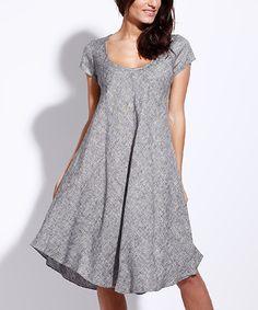 5d5561cfdb Eva Tralala Heather Gray Linen Cap-Sleeve Dress