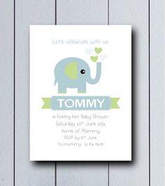 Invitación con dibujo de elefante ideal para nacimientos,cumpleaños infantiles, primer cumpleaños.    Es un producto personalizable por favor indique