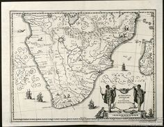 Antique Maps of Southern Africa by Merian, c1650