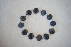 Beaded Stretch Bracelet with bluegrey glass by MalachiBlessings, $7.00