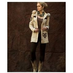 Double D Ranch Fall 2015 Michelle Jacket; fur, winter, coat ($398) ❤ liked on Polyvore featuring outerwear, coats, fur coat, cowboy coat, brown fur coat, western coats and brown coat