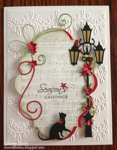 Card by Sherry Hester (083013) [Memory Box Corner Bow, Floral Delights and Poppy Stamps Ivy Tendril, Small Curious Cat, Village Lamp Post and Spellbinders Nestabilities Labels 20]
