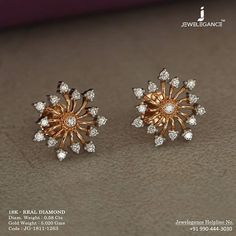 Diamond dewdrops to sparkle. Get In Touch With us on Diamond Earrings Indian, Gold Jhumka Earrings, Jewelry Design Earrings, Gold Earrings Designs, Gold Jewellery Design, Diamond Hoop Earrings, Fashion Jewellery, Emerald Jewelry, Small Earrings