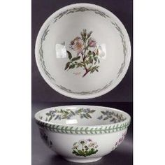 Portmeirion Botanic Garden Salad Serving Bowl, Fine China. Portmeirion Botanic Garden Salad Serving Bowl - Various Plants & Insects,Green Laurel