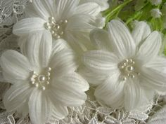white daisy flowers fabric flowers chic rosette bridal by LaceFun, $3.99