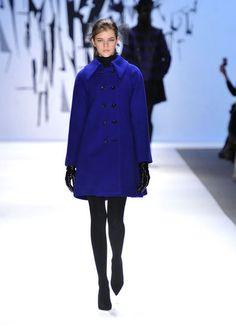 Mod-blue wool coat--perfect pop of color
